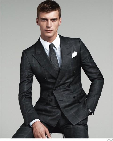 Traje gris cuadro Gucci Men's tailoring O/I 2014