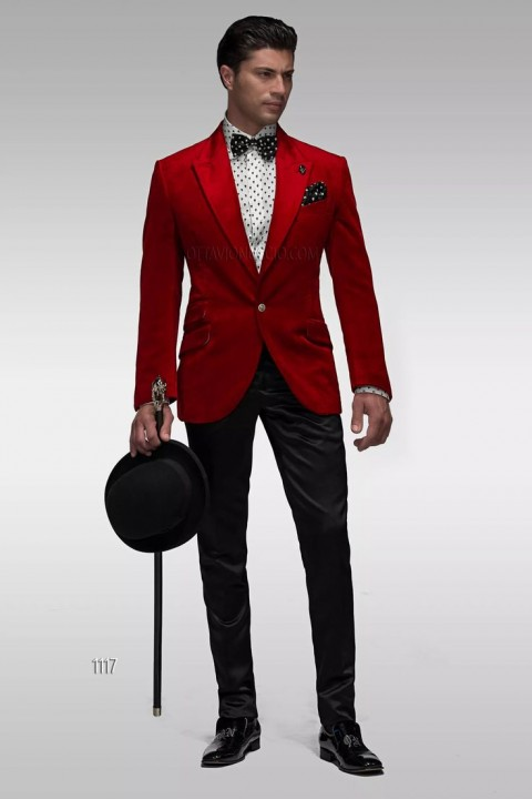 Red jacket black trousers