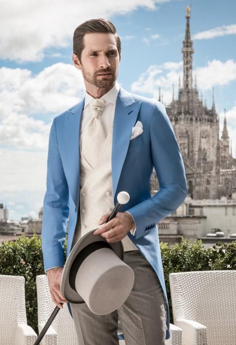 Turquoise morning coat Sartoria Rossi