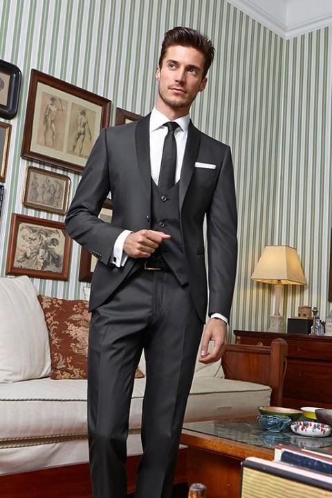 Grey suit shawl collar