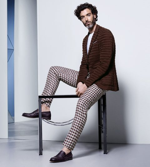 Brown jacket and checked trousers Canali S/S 2016
