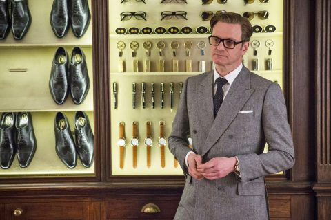 Grey prince of wales suit worn by Colin Firth in Kingsman