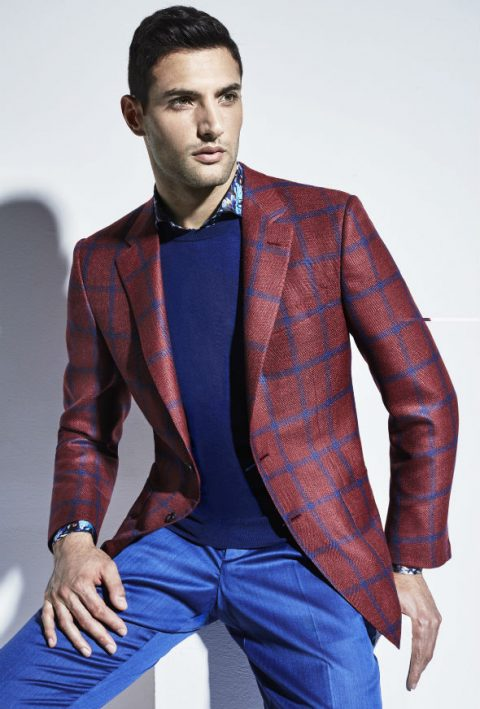Red and Blue checked jacket Larusmiani S/S 2016