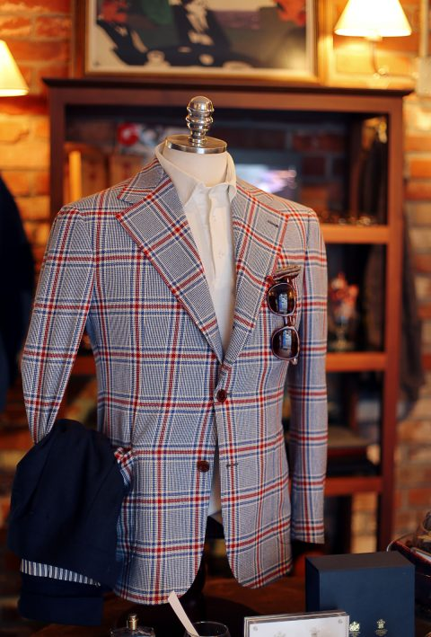 Windowpane blue and red Jacket Tailorable & Co