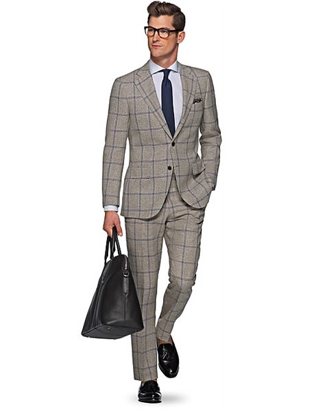 Grey and blue checked suit Suit Supply