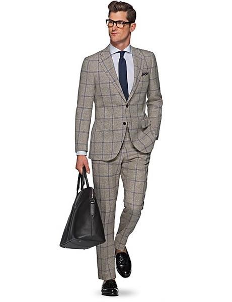Traje gris cuadro azul Suit Supply