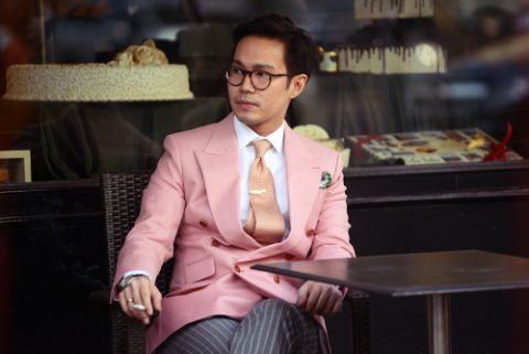 Double breasted pink jacket worn by Ston Trantraporn