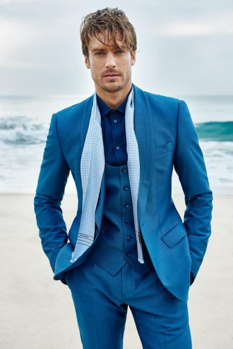 3 pieces turquoise shawl collar suit