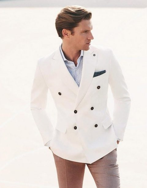 Double breasted white jacket