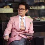 Chaqueta rosa cruzada vestida por Ston Trantraporn