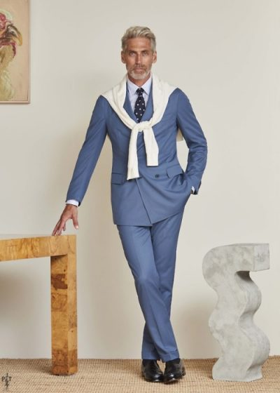Traje azul cruzado Johnson Tailors